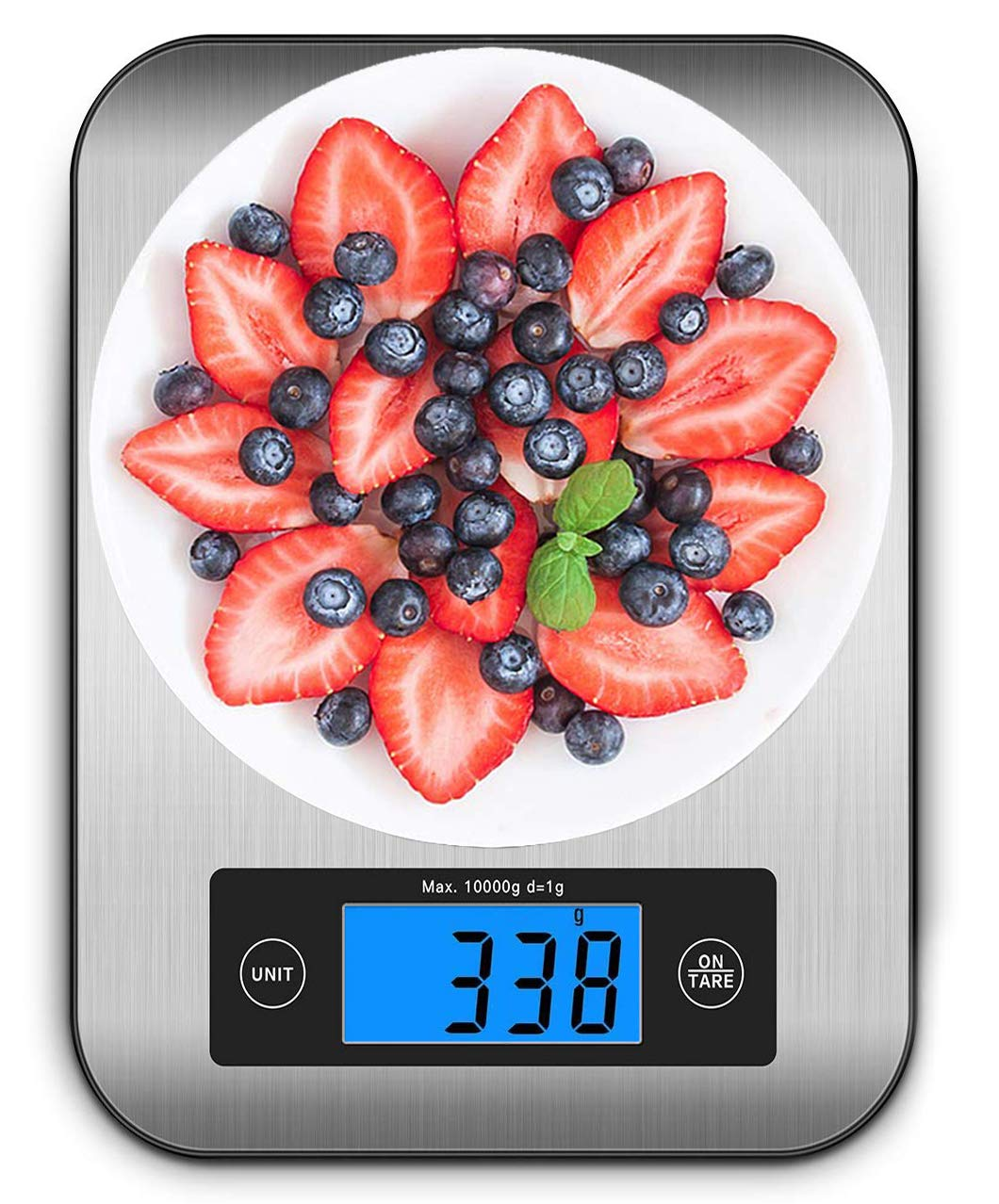 Ataller Digital Kitchen Scales, Multifunction Food Scale, 22 lb 10 kg, Silver, Stainless Steel, Backlight LCD Display, Tare Function, Auto Power Off (Batteries Included)