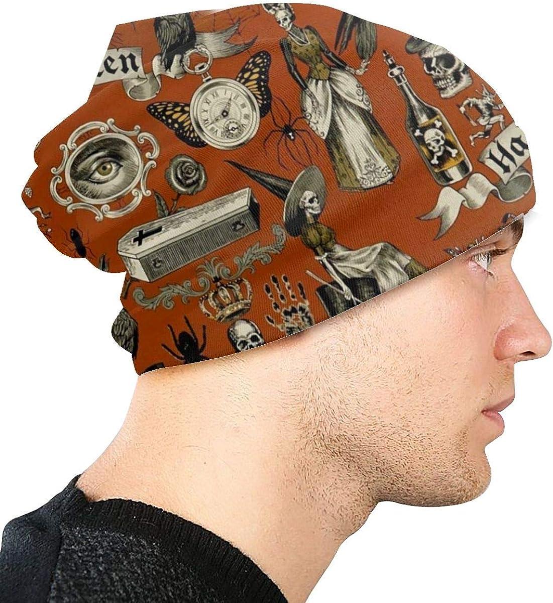 Happy Halloween Sugar Skull Vintage Slouchy Beanie Hats for Women Men Bonnet Cap Warm Casual Skull Knit Hat Caps Black