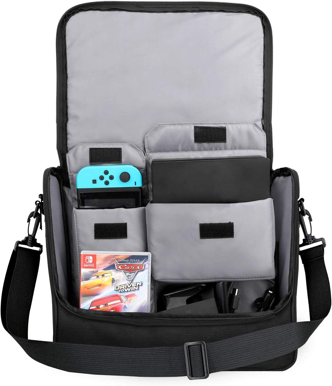 MoKo Nintendo Bolsa, Nintendo Switch Accesorios Bolso de Gran Capacidad de Viaje, Almacenamiento Protección para Consola de Conmutador de Nintendo Controladores Gamepad Cargador Cable, Negro & Azul: Amazon.es: Electrónica