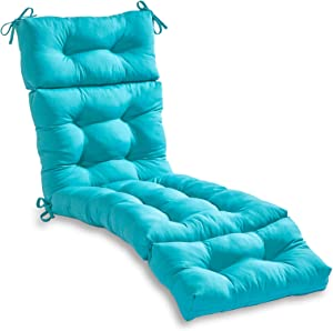 South Pine Porch AM4804-TEAL Solid Teal 72-inch Outdoor Chaise Lounge Cushion