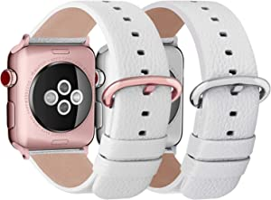 Fullmosa Compatible Apple Watch Leather Band 42mm 44mm White+Rose Gold Buckle & Apple Watch Band 42mm 44mm White+Silver Buckle