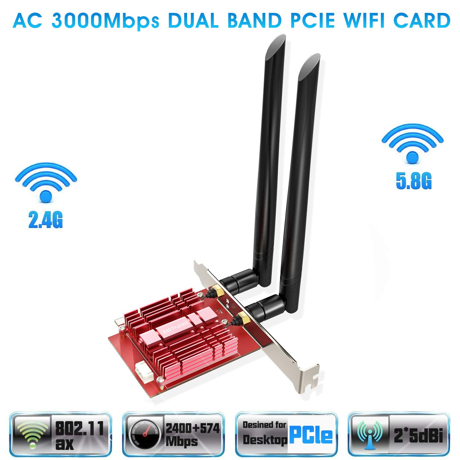 E WiFi Wireless Card Adapter Antennas 450Mbps for Desktop Laptop PC US PCI