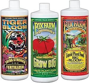 Fox Farm FX14049 Liquid Nutrient Trio Soil Formula: Big Bloom, Grow Big, Tiger Bloom (Pack of 3 - 32 oz. bottles)