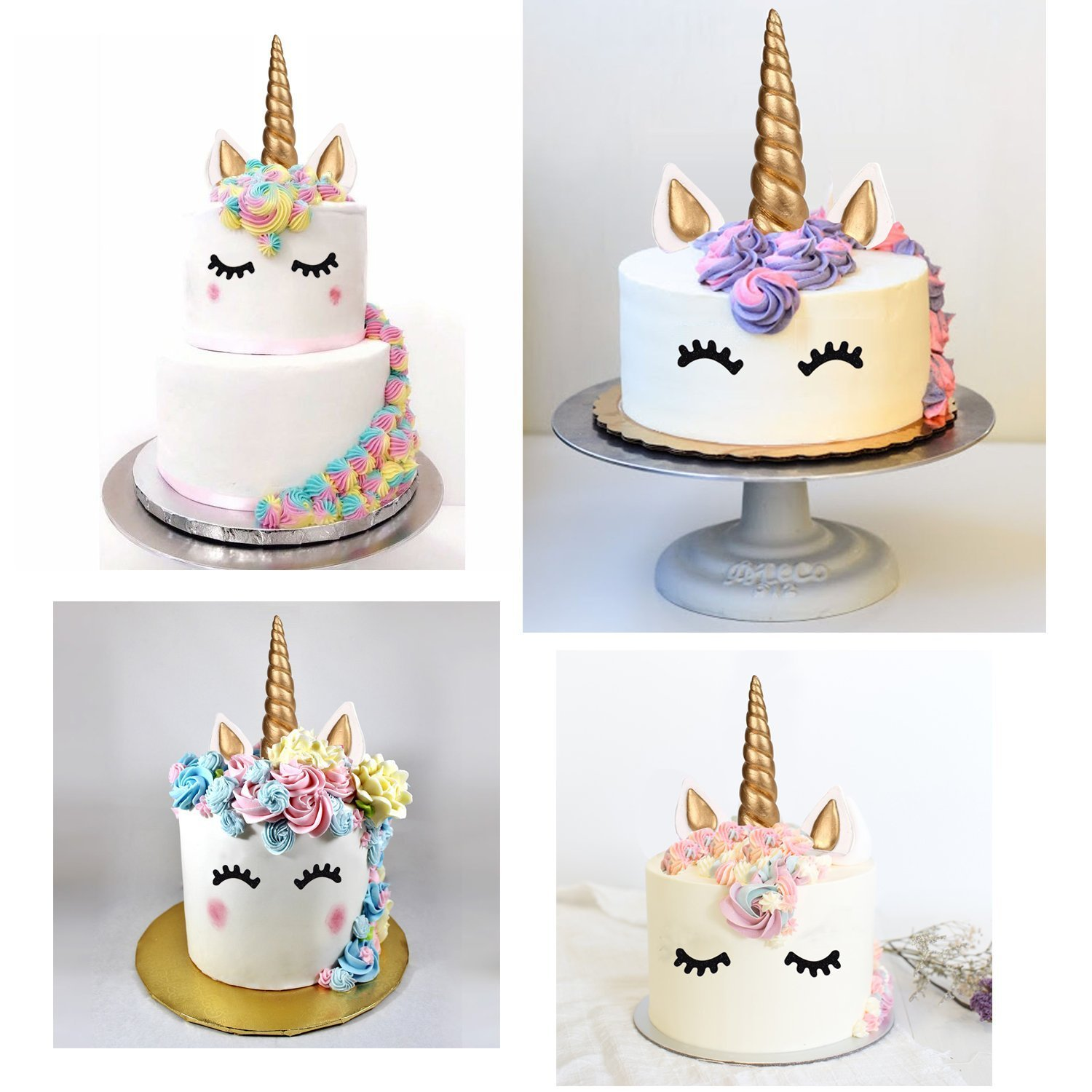 Large Unicorn Cake Toppers Unicorn Horn Ears With Eyelashes Cake Topper Set for 8 10 Unicorn Cake Decoration