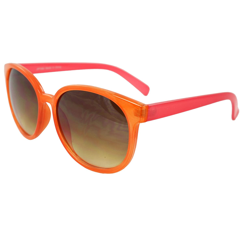 MLC EYEWEAR /® Retro Oval Gangnam Style Fashion Sunglasses Orange Pink Frame Amber Lenses