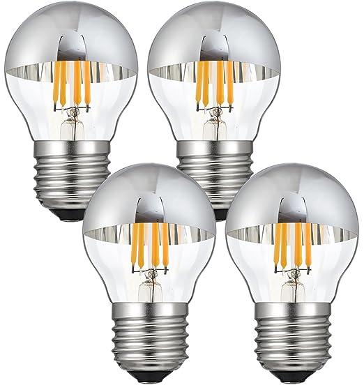 CanYa g45 led filament bulb LED Filament Light Bulb with Mirror Half Chrome 2700K Warm White 400LM E26 Medium Base Lamp G45 globe Shape 40 Watt Equivalent ...