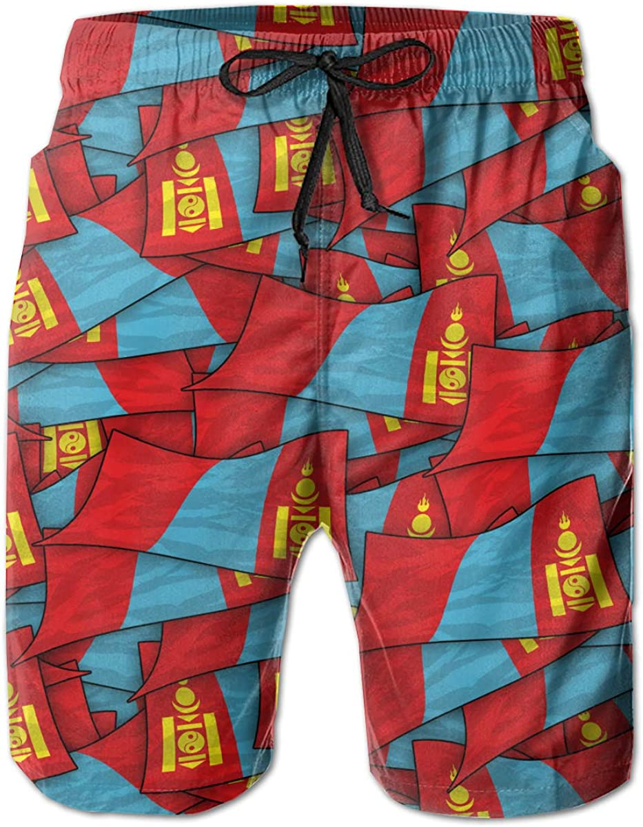 Mens Swim Trunks Mongolia Flag Wave Collage Quick Dry Beach Board Shorts with Mesh Lining