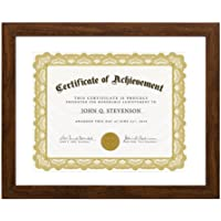 Betus [Elegance] Wood Certificate Frame Letter Size for 8.5x11 inch for 11x14 Without Mat - Polymer Front - Documents…