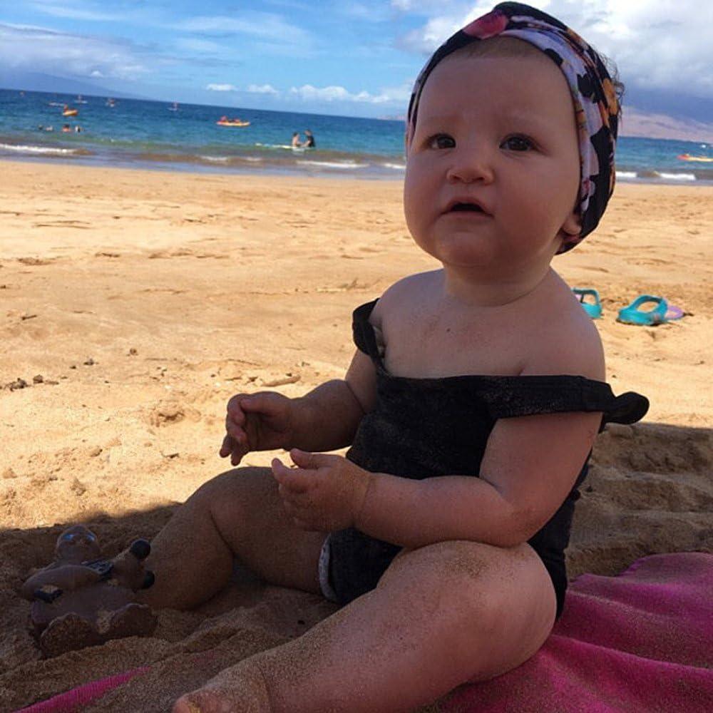 Baby Girls Strap Solid Black Swimwear One Piece Ruffle Bikini Bathing Suit