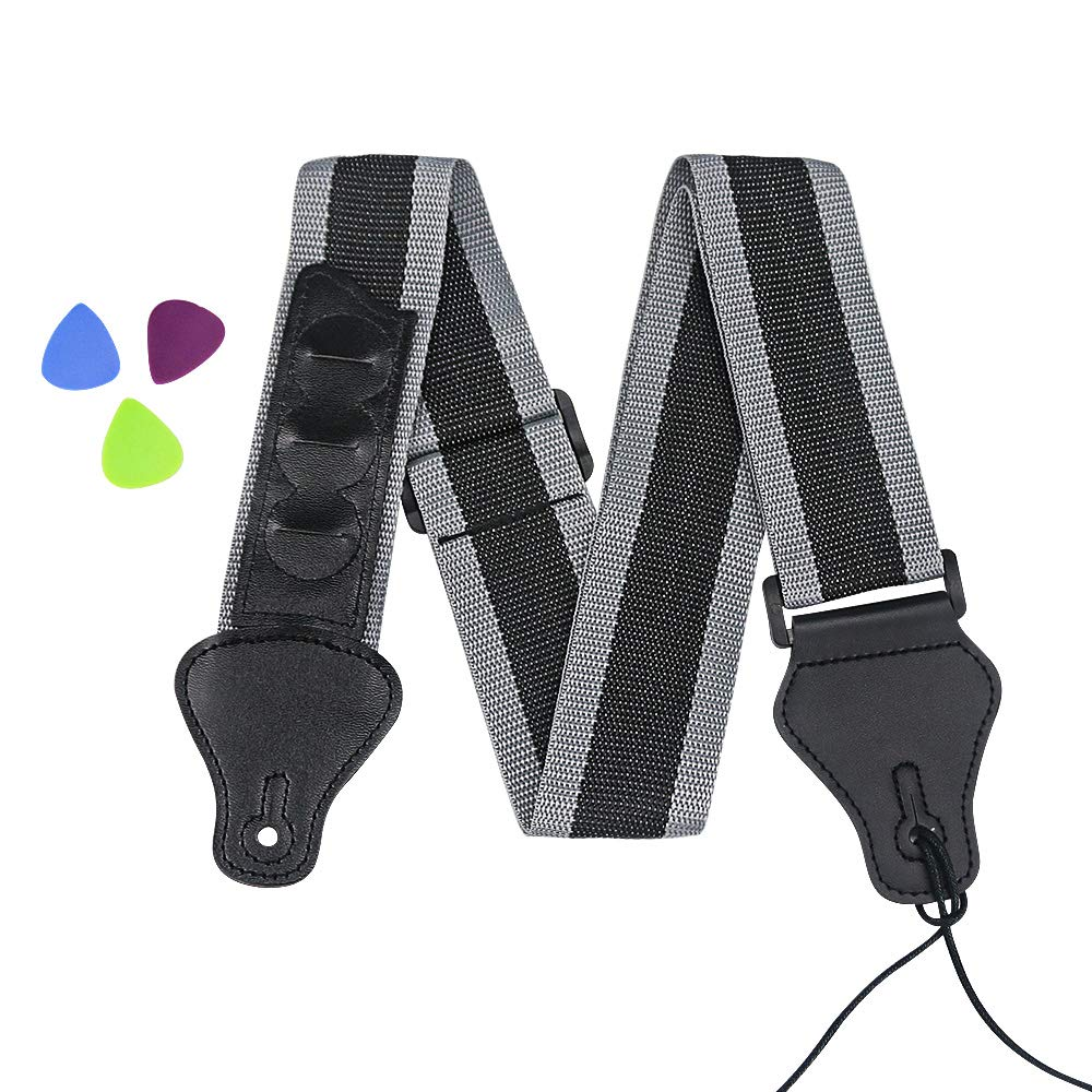 Jhua Guitar Strap, Adjustable Acoustic Guitar Shoulder Strap with Durable Thick Leather Ends Pick Pocket 3 Pick Holders for Electric Guitar Acoustic Guitar Bass G0001