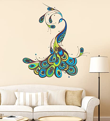 55e703caf0c Buy Luke and Lilly Beautiful Peacock Design Wall Sticker (PVC Vinyl ...