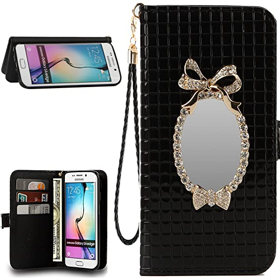 Amazon Com Uncle Y Pu Leather Wallet Flip Case Mirror With Grid And