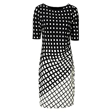 Unique-Shop Geometric Dress Tunic Womens Clothing Plus Size Spring OL Dresses for Work Fashion