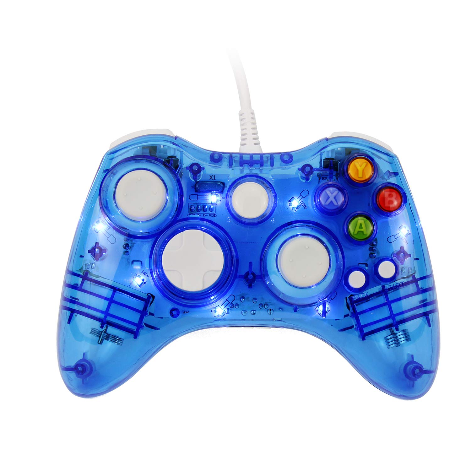 Afterglow PC Controller, Etpark Trasparennt Gamepad 7 LED Lights Support Xbox 360 PC(Windows XP/7/8/10)(Blue)
