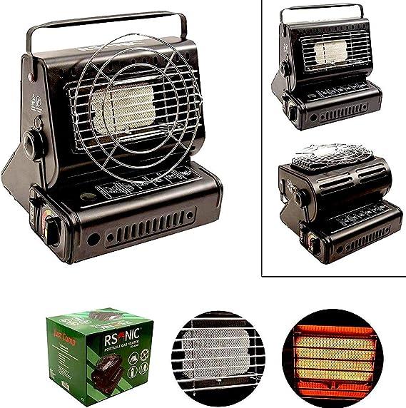 RSonic - Calefactor de gas portátil giratorio 90°, quemador de cerámica, 1,3 kW, calefactor de gas para exterior, camping, pesca, mini calefactor ...