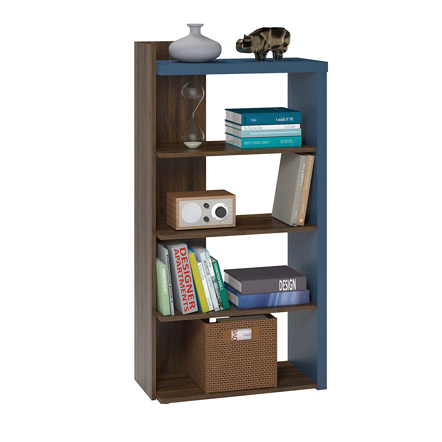 Amazon.com: Novogratz 7545817COM Xavier 5 Shelf Bookcase, Walnut: Kitchen &  Dining