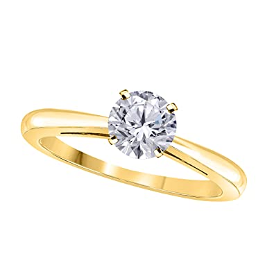 56f043ece2e3e RSJEWELS Elegant 1 Ct One Carat Round Cut Solitaire Simulated Diamond  Engagement Ring in 14k Yellow Gold Plated 925 Sterling Silver  Amazon.co.uk   Jewellery