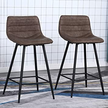 Amazon Com Retro Counter Stools Set Of 2 Pieces Leather Bar Stools Barstools For Kitchen Modern Dining Chairs With Low Back Counter Height Stools Kitchen Island Chairs Brown Kitchen Dining