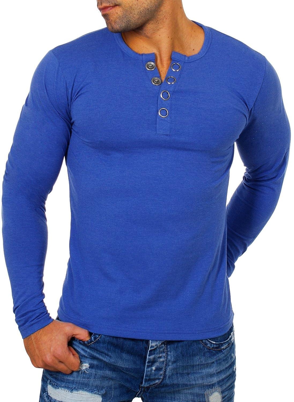 Young& Rich Herren Longsleeve Langarm T-Shirt Knopfleiste mit Extra Großen Metall Knöpfen Slimfit Big Buttons 2872