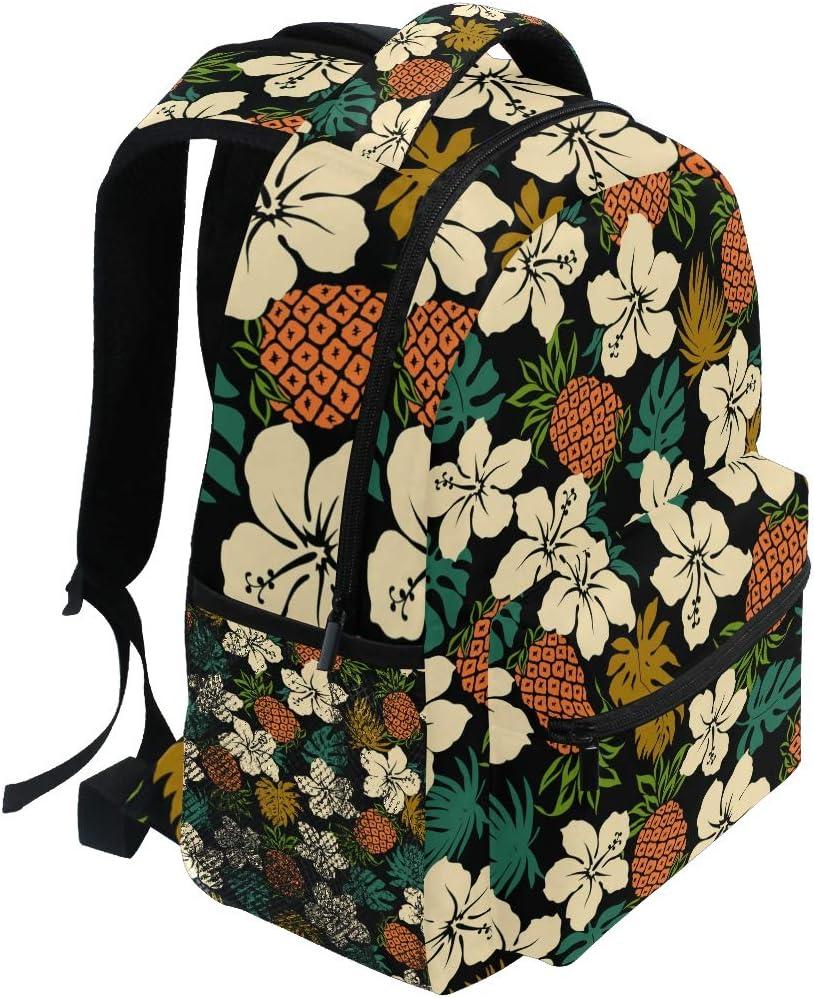 Hibiscus Pineapple Backpacks Travel Laptop Daypack School Bags for Teens Men Women