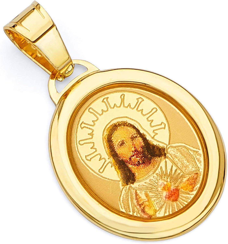 14k Solid Yellow Gold  enamel Jesus  Religious  Pendant+18/'/' Chain