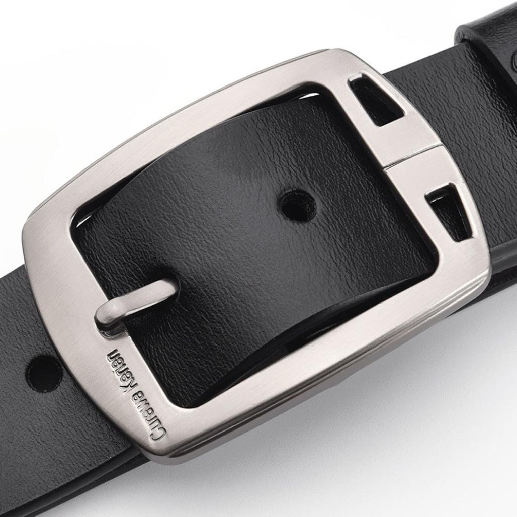 RTYou Fashion Casual Mens Leather Smooth Girdle Belt Strap With Buckle (Black)