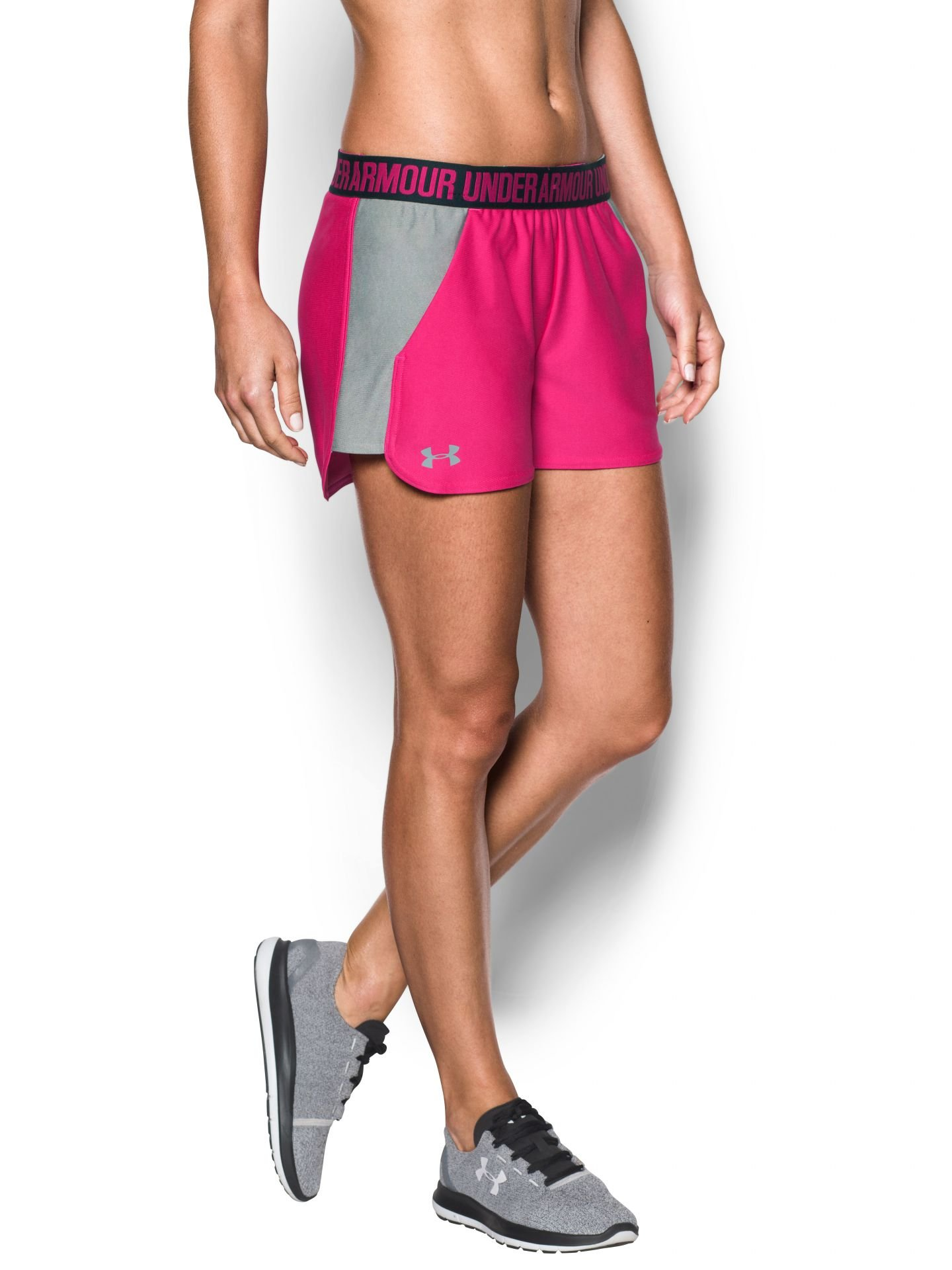 Under Armour Women's UA Play Up 2.0 Shorts, Tropic Pink/True Gray Heather, XXSmall