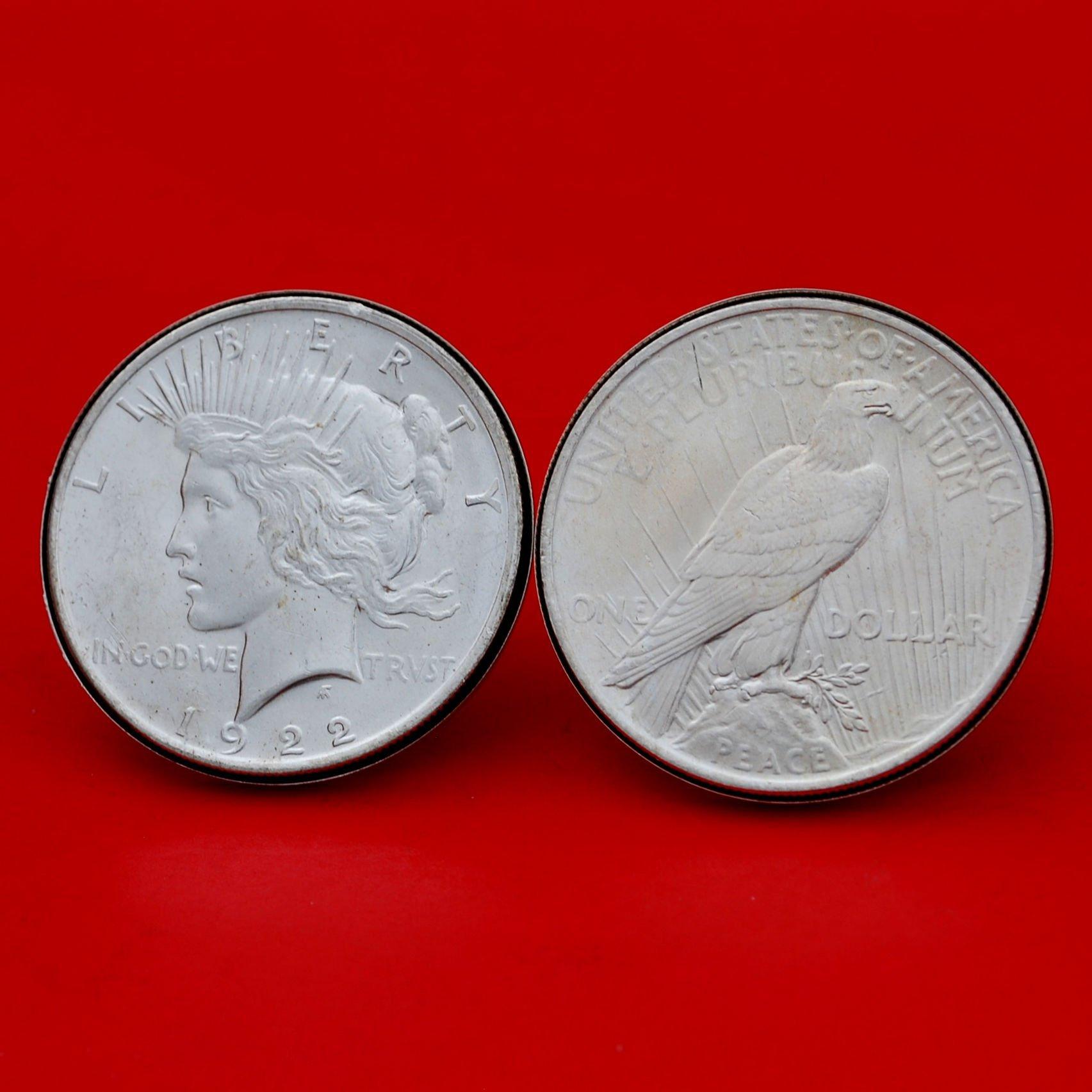 US 1922 Peace Silver Dollar BU Uncirculated Silver Cufflinks NEW - OBVERSE + REVERSE
