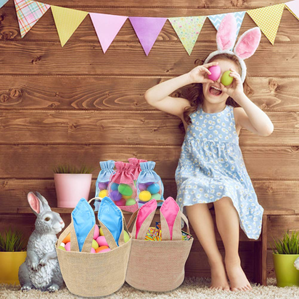 West Bay Easter Baskets Bags 2Pcs Easter Egg Baskets Kids Girls 4Pcs Easter Drawstring Treat Bags Easter Bunny Decoration Party Supplies Easter Egg Hunt Tote Cross-Stitch Jute Linen Burlap Daily