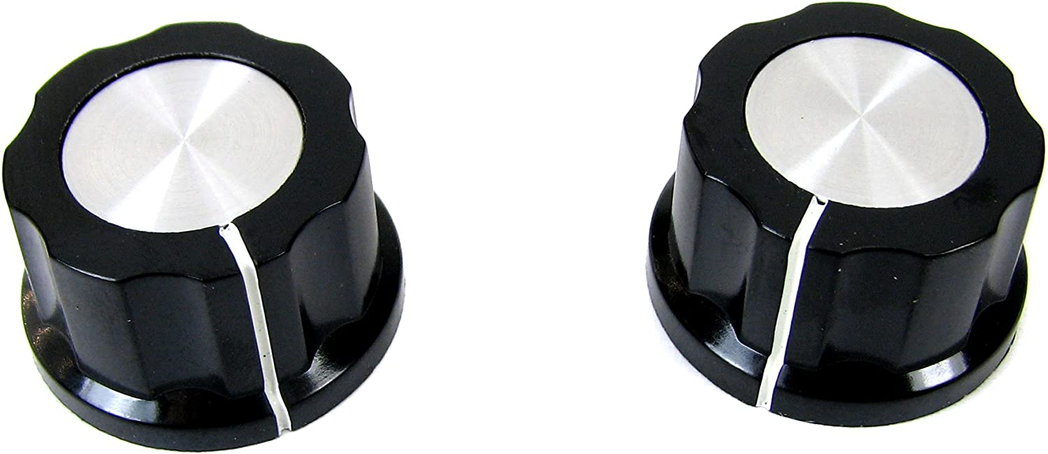 2-pack Black Plastic Fluted Knobs with Aluminum Tops /& Set Screw