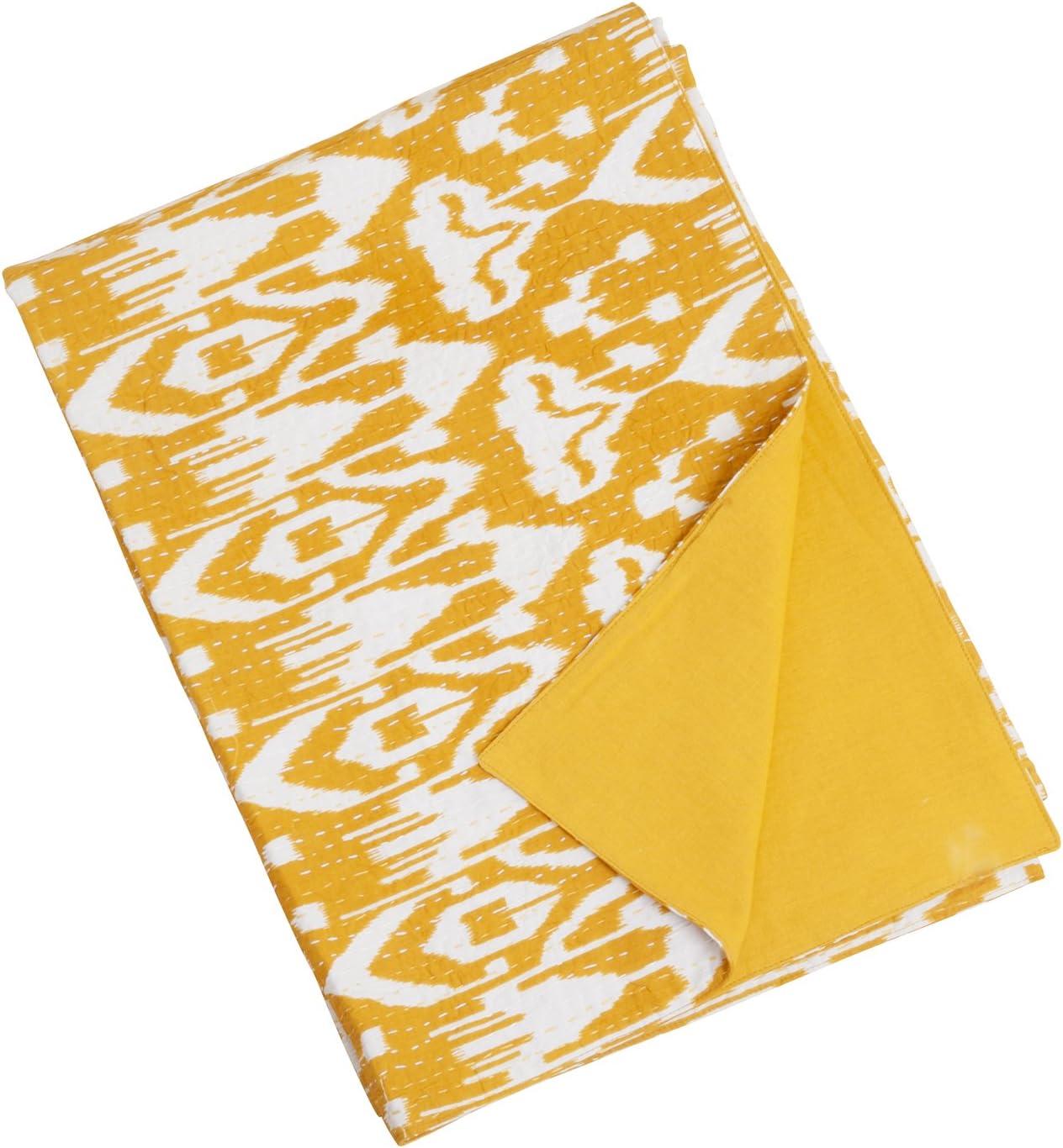 Mustard SARO LIFESTYLE TH517 1-Piece Asha Ikat Throw 40 by 60-Inch