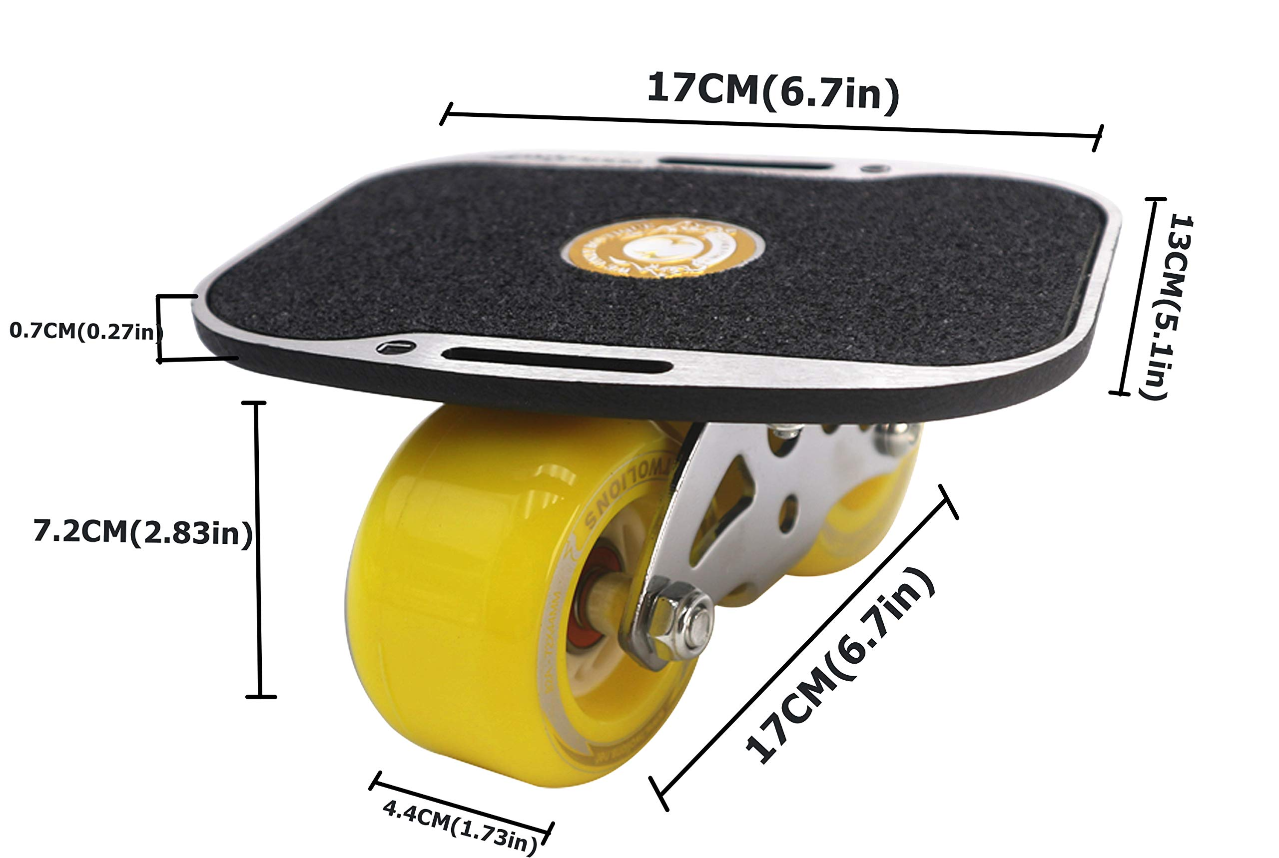 Roller Road Drift Skates Plate Pro Skates Anti-Slip Board Portable Split Skateboard All-in-one Aluminum Alloy with PU Wheels(Yellow) by Smartuan (Image #3)