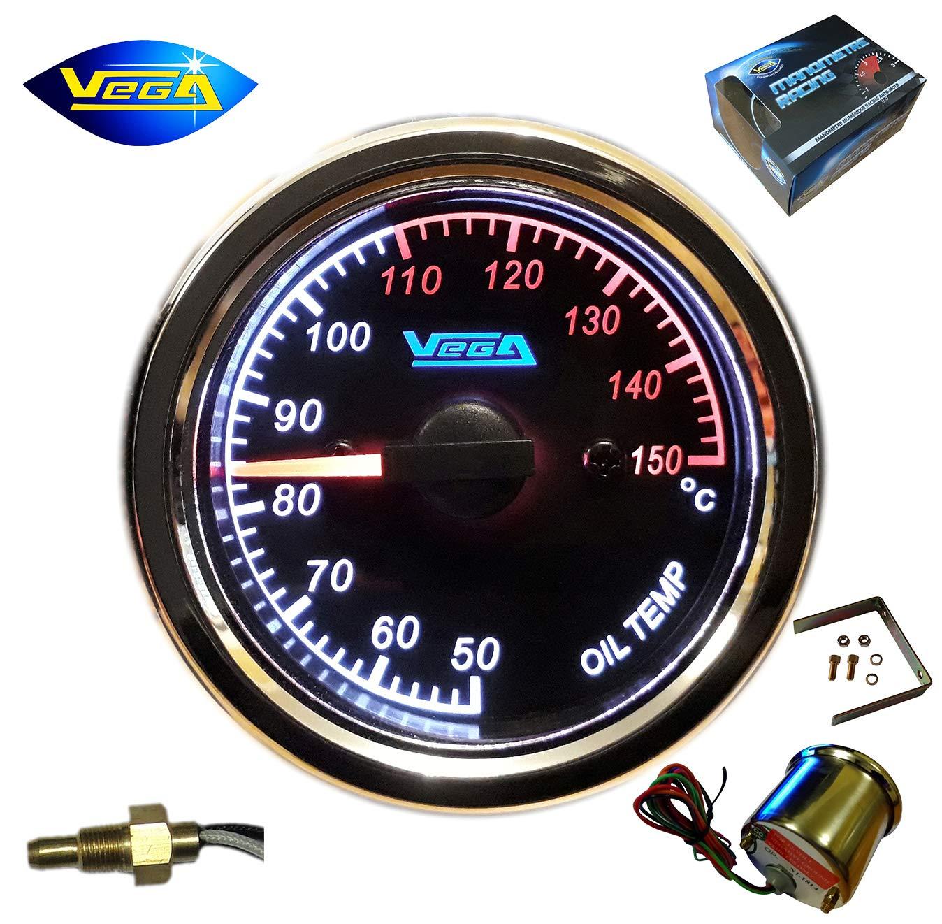 Manomètre Vega® température d'huile Moteur INOX étanche 50-150 °C Moto Bateau chromé Retro-éclairé LED 52 mm Marque Française