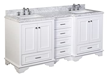 Nantucket 72 Inch Bathroom Vanity (Carrara/White): Includes White Cabinet  With
