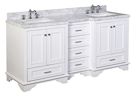 Nantucket 72-inch Bathroom Vanity (Carrara/White): Includes ...