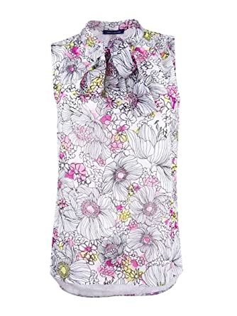 61b289e8 Amazon.com: Tommy Hilfiger Womens Floral Print Tie Neck Pullover Top Pink XL:  Clothing