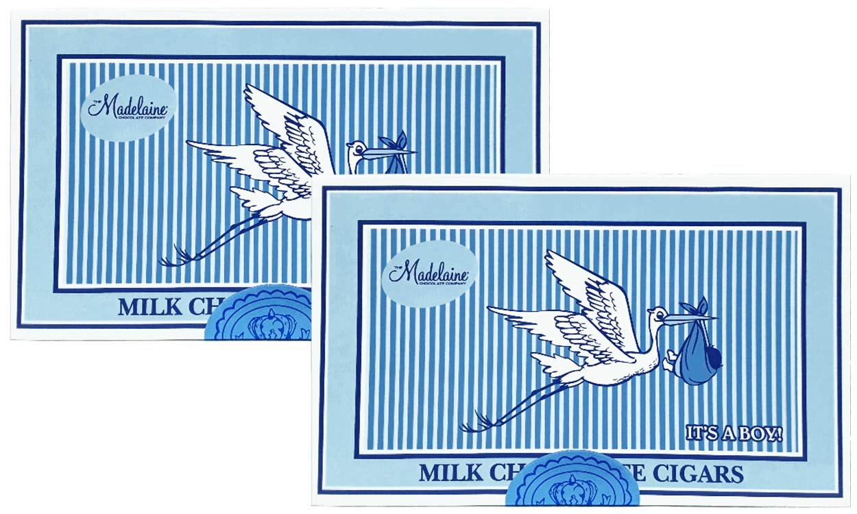 Madelaine Chocolates It's a Boy Gift Box - Solid Premium Milk Chocolate Cigars Wrapped In Blue Italian Foil - 24 Cigars - 2 Pack by THE MADELAINE CHOCOLATE COMPANY