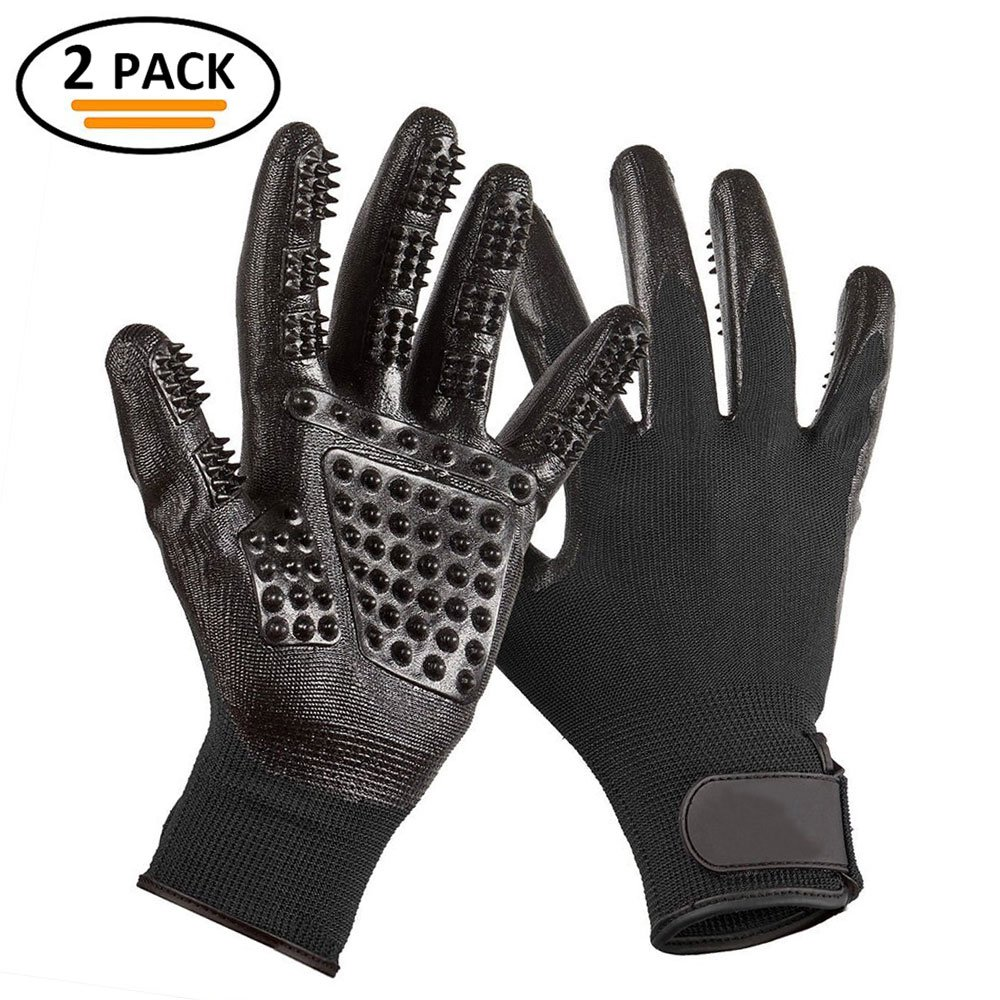 RoyalCare Pet Grooming Glove Gentle Deshedding Pet Brush Glove - Pet Hair Removal Mitt with Enhanced Five Finger Design for Long & Short Fur Dogs Cats Horses Rabbits - 1 Pair (Black)