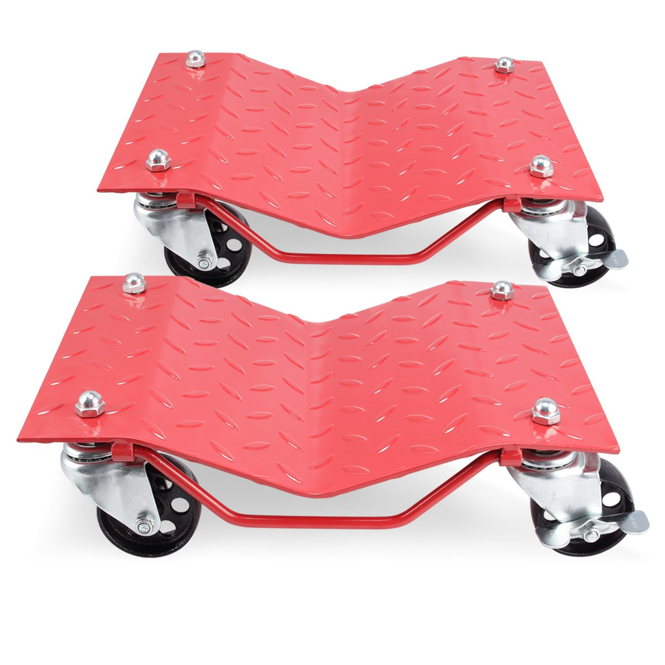ARKSEN 2 Pack Set Heavy Duty Dollies Car Auto Repair Dolly Tire Skates Vehicle Moving Diamond w/Wheels & Lock, Red by ARKSEN (Image #2)