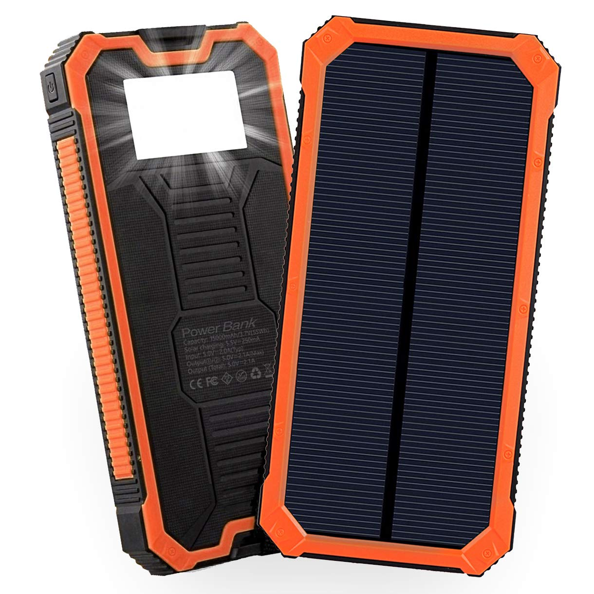 Solar Power Bank 15000mAh Friengood Portable Solar Phone Charger with Dual USB Ports, Solar External Battery Charger with 6 LED Flashlight for Cell Phone, Tablet, Camera and More (Orange) by Friengood