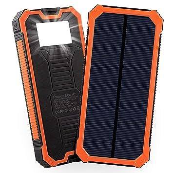 Friengood Cargador Solar, 15000 mAh batería Solar portátil con Dos Puertos USB, Cargador de teléfono con 6 Luces LED para iPhone, iPad, Samsung y más ...
