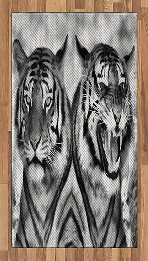 ABAKUHAUS Safari Alfombra de Área, Expresión Gato Imágenes ...