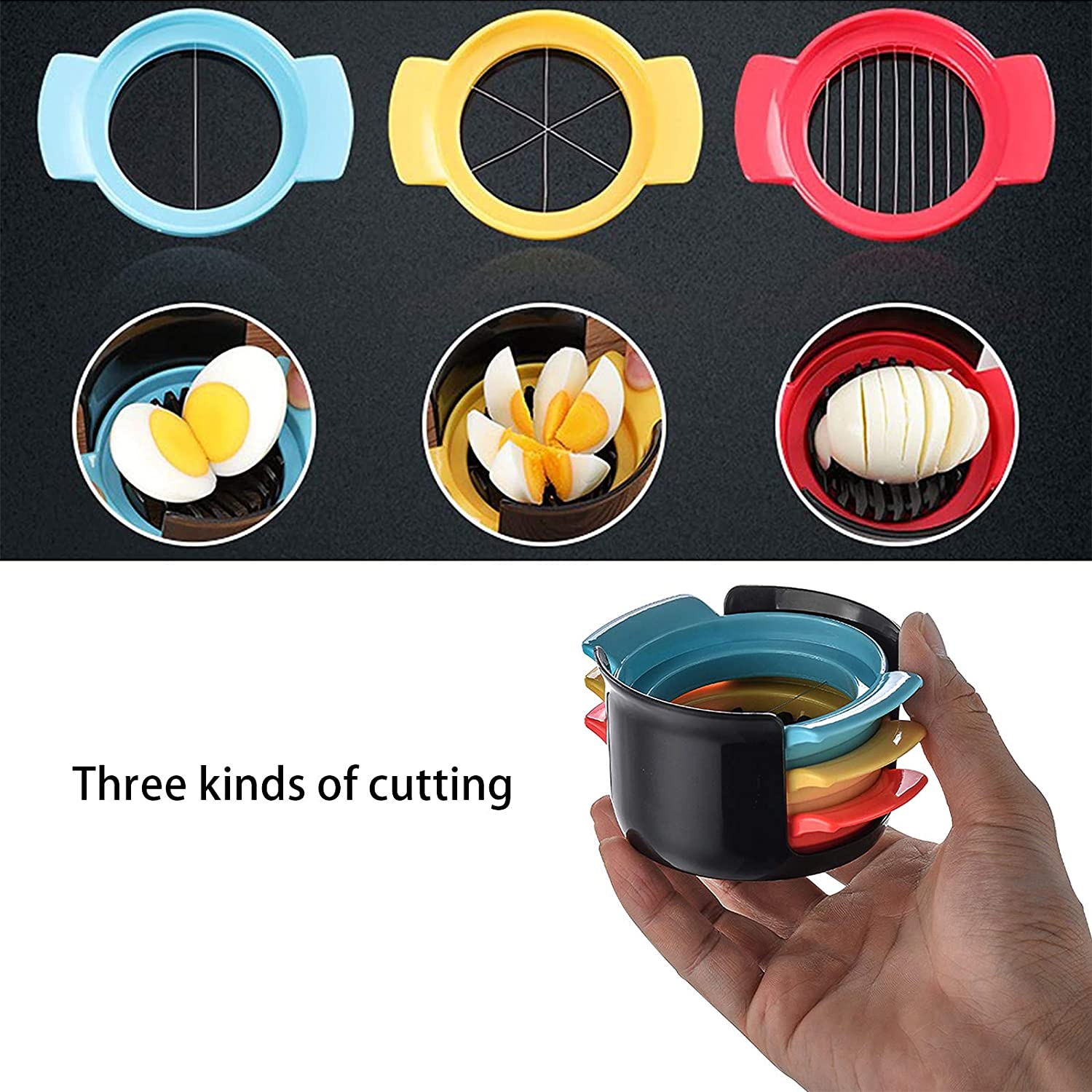 with 3 Slicing Styles Slicing Widget for Cutting Eggs// Fruits Egg Slicer 3 In 1 ABS Agg Cutter Egg Slicer for Hard Boiled Eggs