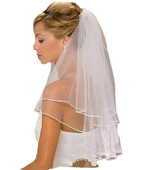 Schleier Webkante Brautschleier 2 Lagen mit Kamm 2-lagig Hochzeit Braut NEU Weiß Ivory