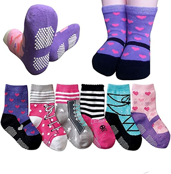 Baby Girls Socks 6 Pack Infant Toddler Stretch Cotton Knit Crew Casual Dress Socks