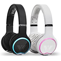 Wearhaus ARC+ Bluetooth Wireless Sharing Headphones HiFi Bass Wired Headset w/Mic, Color Changing LED Light, On Ear Noise Isolating Comfort Earpad for Gaming Travel Work, Touch Control (Black/White)