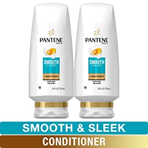 Pantene, Sulfate Free Conditioner, with Argan Oil, Pro-V Smooth and Sleek Frizz Control, 24 fl oz, Twin Pack