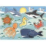 Melissa & Doug Sea Creatures Wooden Peg Puzzle (9 pcs)
