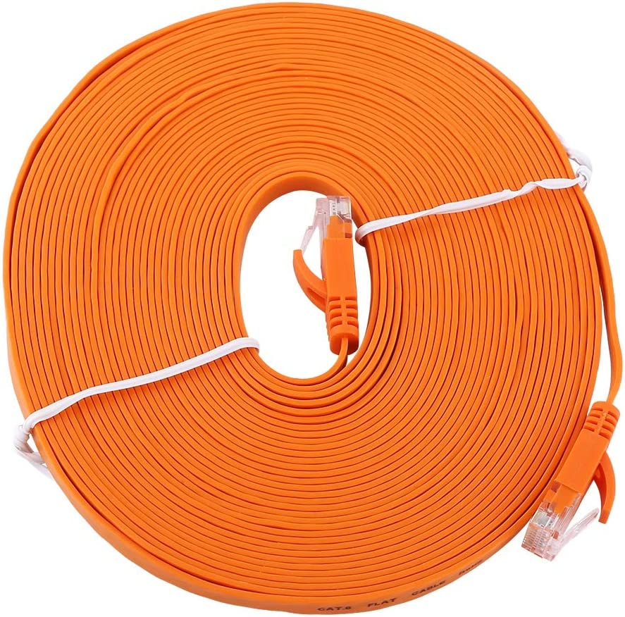 Light and Easy to Carry Orange RJ45 CAT6 Ethernet Network Flat LAN Cable UTP Patch Router Cables 1000M Soft Richer-R Ethernet Network Cable 10M