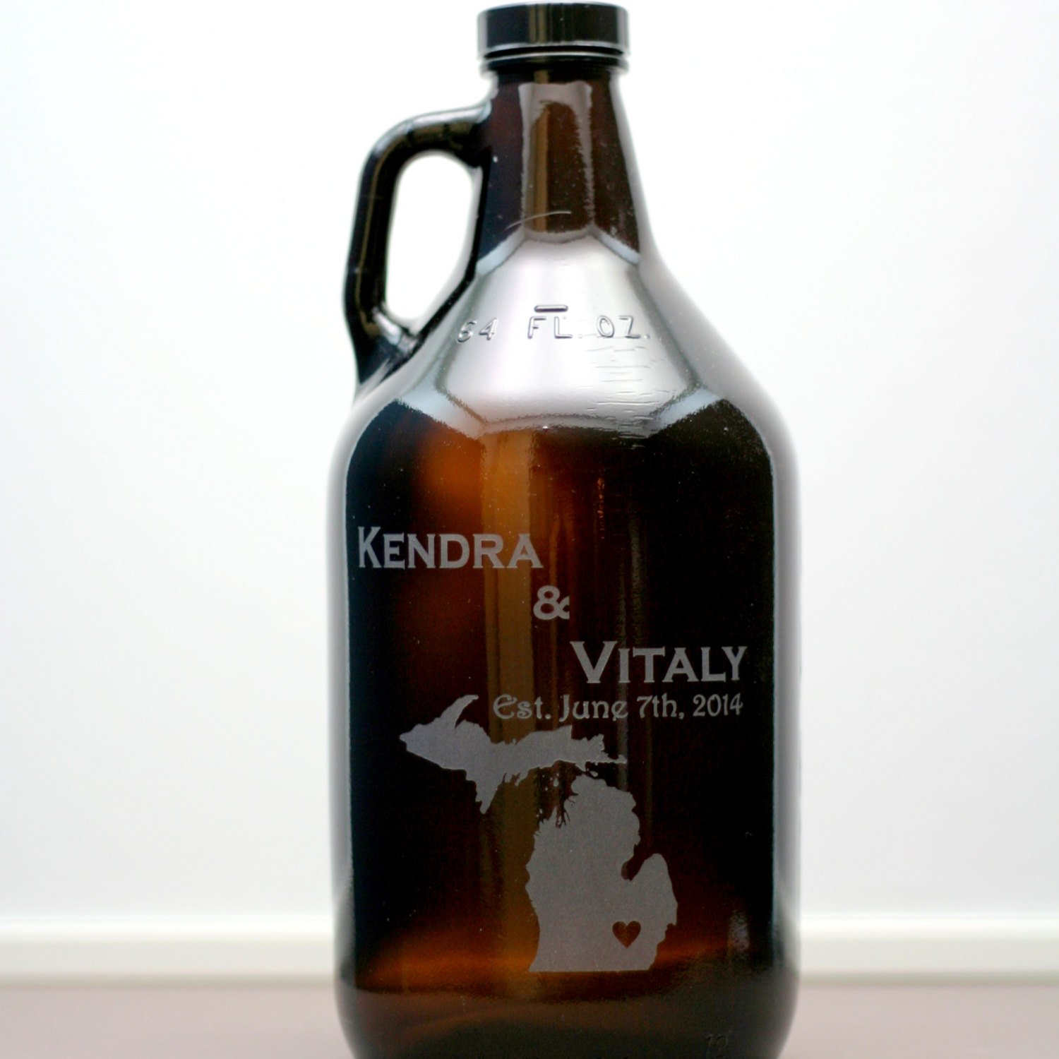 Personalized Engraved Newlywed Gift with State Or Country Love Heart Art Growler